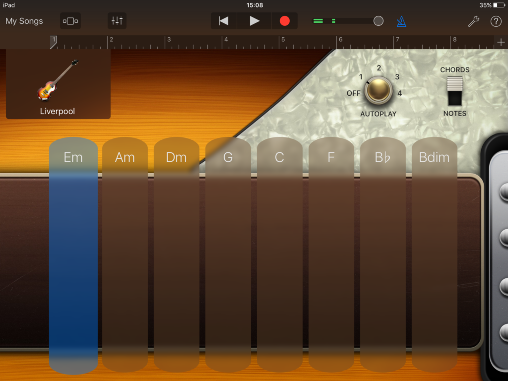 Garageband demonstration: how to immitate the Liverpool bass Autoplay patterns, to develop aural skills.